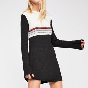 FREE PEOPLE COLOR-BLOCK SWEATER DRESS